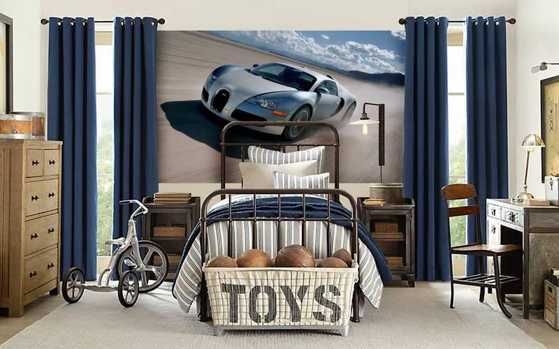 Фотообои в интерьере детской комнаты: фотообои авто,детские, Bugatti, автомобили, для мальчика, в детскую, бугатти, серый автомобиль