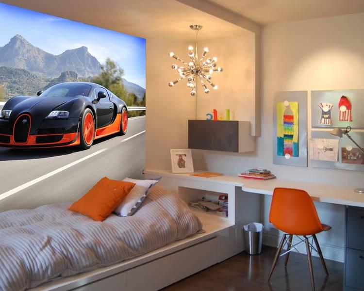 Фотообои в интерьере детской комнаты: фотообои авто, детские, Bugatti, Bugatti Veyron, автомобили, для мальчика, в детскую, бугатти, черный автомобиль