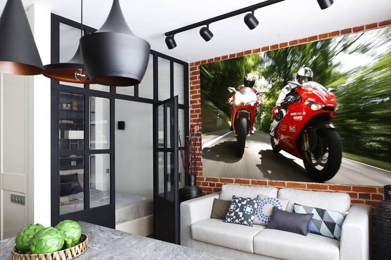 Фотообои в интерьере детской комнаты: фотообои авто, мото, драйв, мотоциклы, обои для мальчика, в детскую, красный мотоцикл