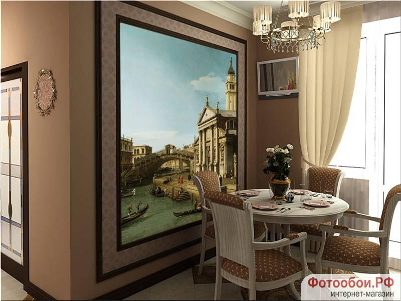 Фотообои в интерьере для спальни: фотообои Венеция, фреска, мост Риальто, старая Венеция, гандолы, Rialto Bridge