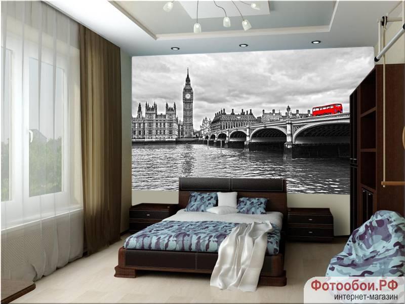 Фотообои в интерьере для спальни: фотообои Лондон, Англия, красный автобус, Биг-Бен, черно-белый город, мост, фреска, Westminster Bridge