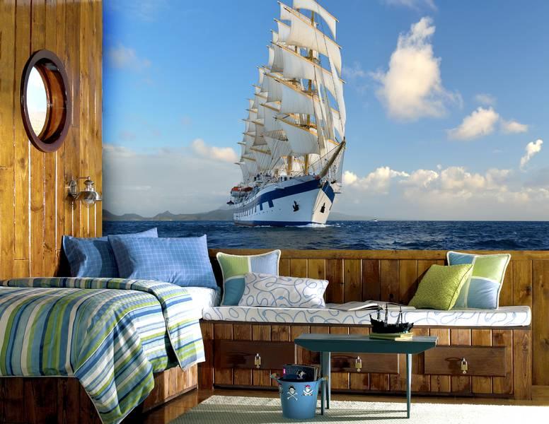Фотообои в интерьере для спальни: фотообои парусник, белый корабль, морской пейзаж, в море, морские обои