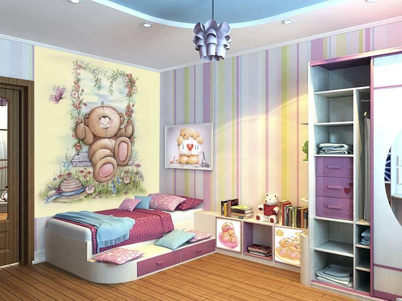 Фотообои в интерьере детской комнаты: фотообои детские, Мишка, мишки Тедди, мишка на качелях, рисованный мишка, для малышей, в детскую