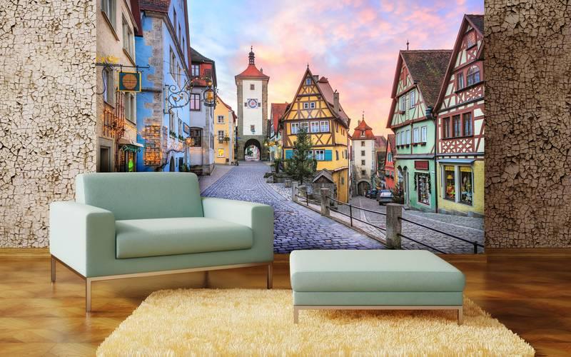 Фотообои в интерьере для кухни: фотообои улочки, сказочный город, старинный город, красивый город, дворики, европейский городок, ввропейские домики