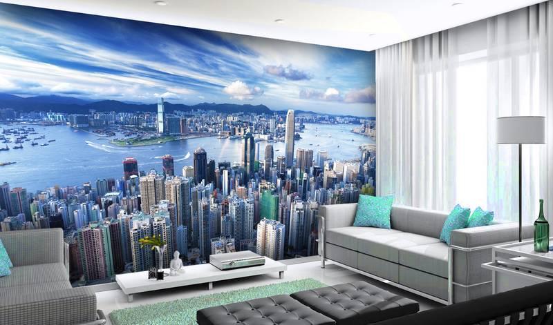 Фотообои в интерьере для спальни: фотообои города, небоскребы, Гонконг, Китай, высотки, красивый город, вид с высоты