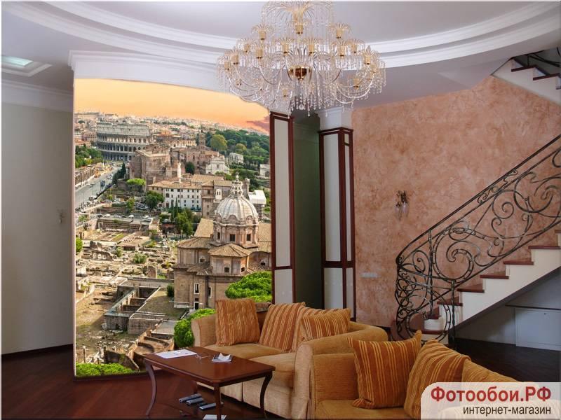 Фотообои в интерьере для спальни: фотообои Рим, сепия, фреска, старинный город, живописный вид