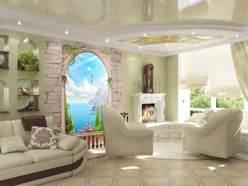 Фотообои в интерьере для кухни: фотообои арки, вид на море, морской пейзаж, балкон, окна, море