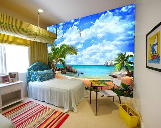 Фотообои в интерьере для спальни: фотообои море, пляж, на пляже, морской пейзаж, живописный берег, пальмы, парусник