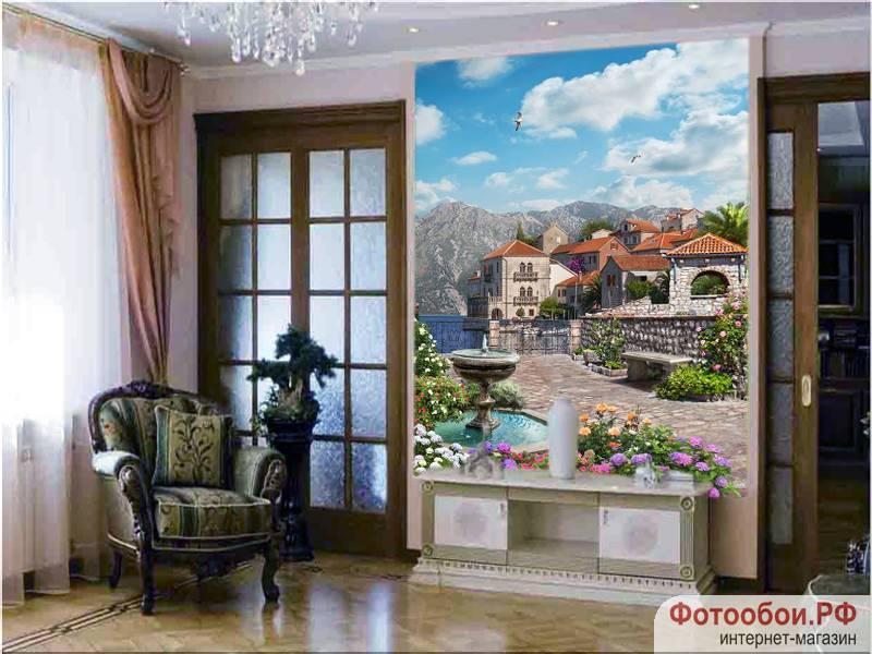Фотообои в интерьере для спальни: фотообои старинный город, старинные улочки, европейский городок, фрески, красивые дома, в саду, фонтан