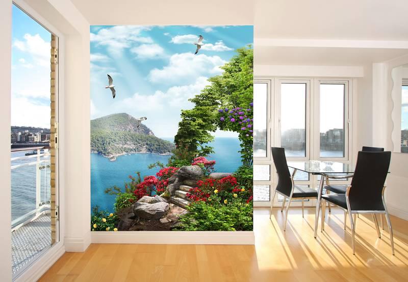 Фотообои в интерьере для кухни: фотообои морской пейзаж, вид на море, море, живописный вид, цветочные арки