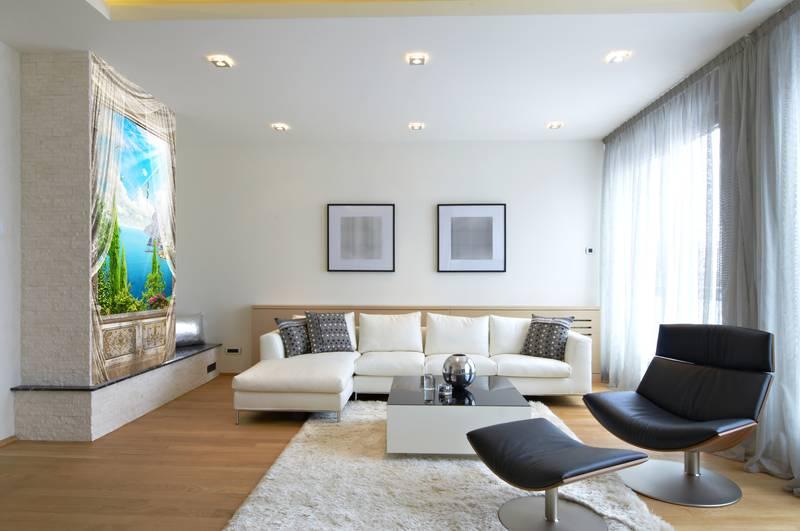 Фотообои в интерьере для спальни: фотообои морской пейзаж, окна, вид из окна, вид на море, испанский пейзаж, балкон