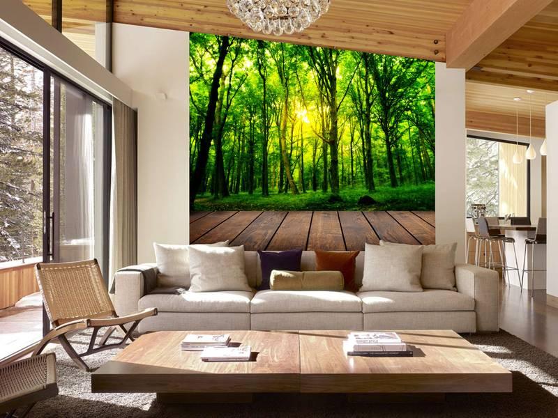Фотообои в интерьере для спальни: фотообои лес, лесная веранда, деревья, природа, интерьер