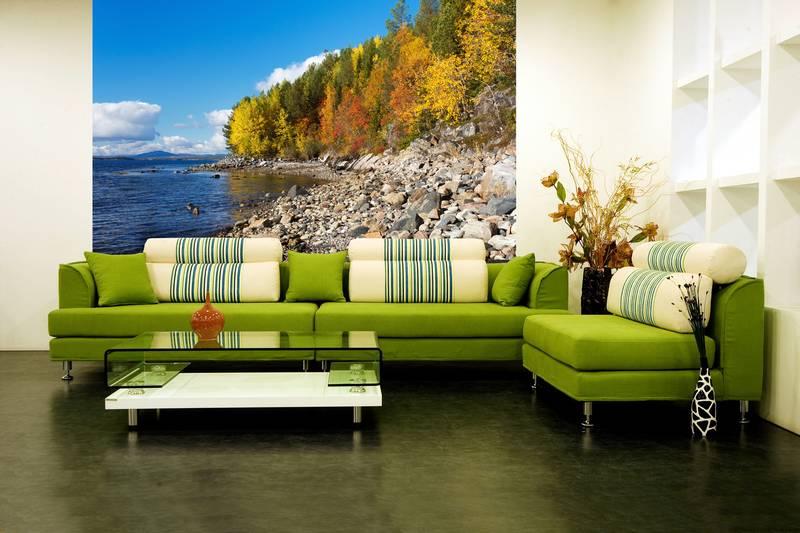 Фотообои в интерьере для спальни: фотообои природа, пейзаж, осень, осеннее озеро, живописный вид
