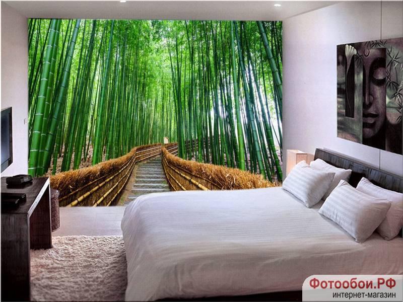 Фотообои в интерьере для кухни: фотообои бамбуковая роща, бамбук, природа, лестница, расширяющие пространство