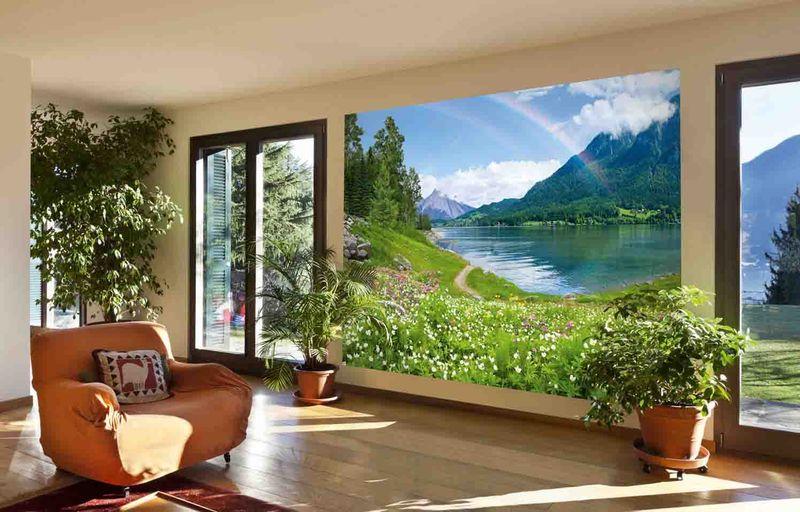 Радужное озеро - фотообои в интерьере