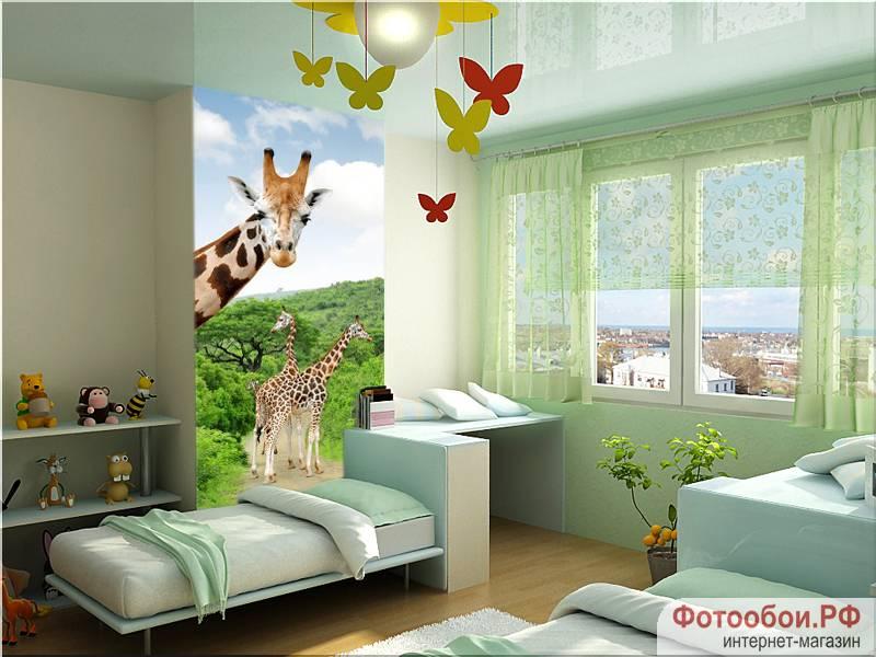 Жирафы - фотообои в интерьере