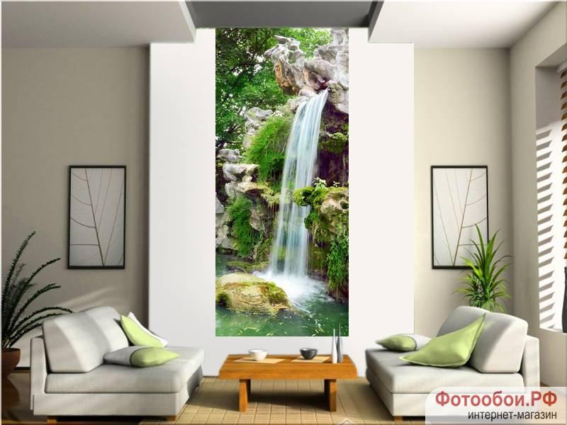 Водопад в парке - фотообои в интерьере