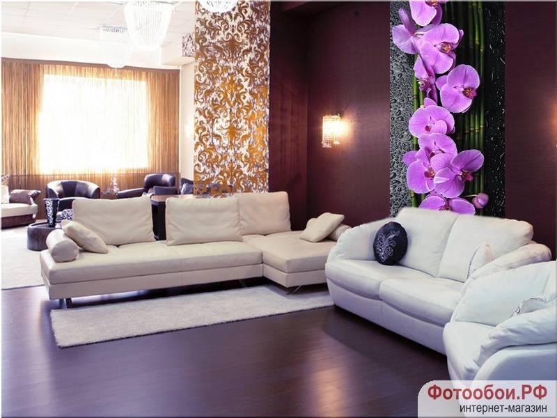 Орхидеи на камнях - фотообои в интерьере