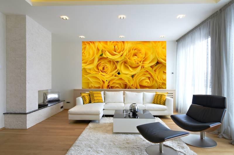 Фотообои в интерьере для кухни: фотообои розы, желтые розы, нежность, цветы