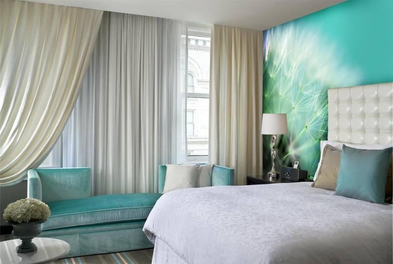 Фотообои в интерьере для спальни: фотообои одуванчик, цветы, 3д цветы