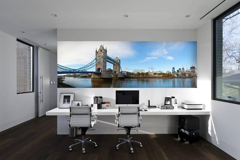 Фотообои в интерьере для спальни: фотообои Лондон, Тауэрский мост, города, Англия, панорама, мост