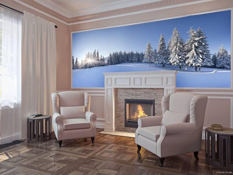 Фотообои в интерьере для спальни: фотообои зима, зимний пейзаж, природа, зимний лес