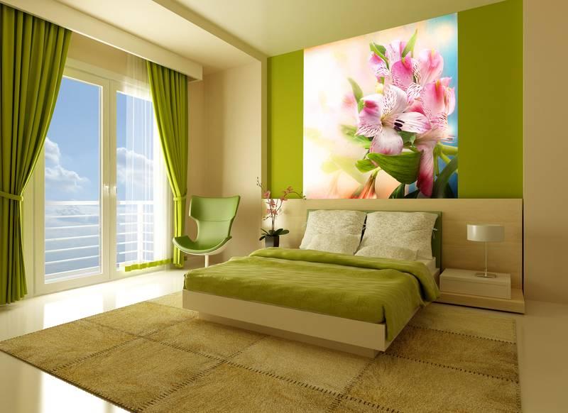 Фотообои в интерьере для кухни: фотообои лилии, цветы, нежность, лилии на светлом фоне