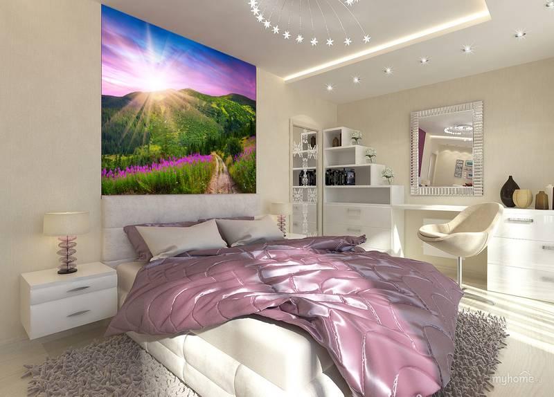 Фотообои в интерьере для спальни: фотообои природа, горы, утро в горах, поле, прованс, пейзаж