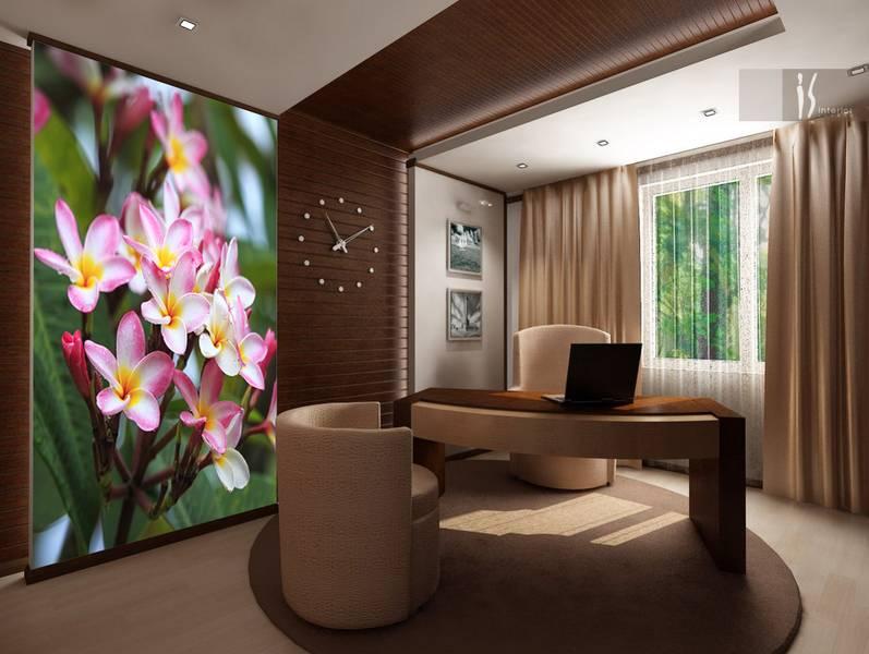 Фотообои в интерьере для кухни: фотообои плюмерия, цветы, роса на цветах, цветы море