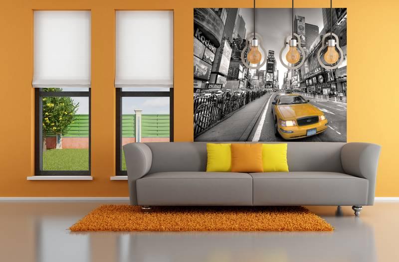 Фотообои в интерьере для спальни: фотообои желтое такси, черно белый, ночной город
