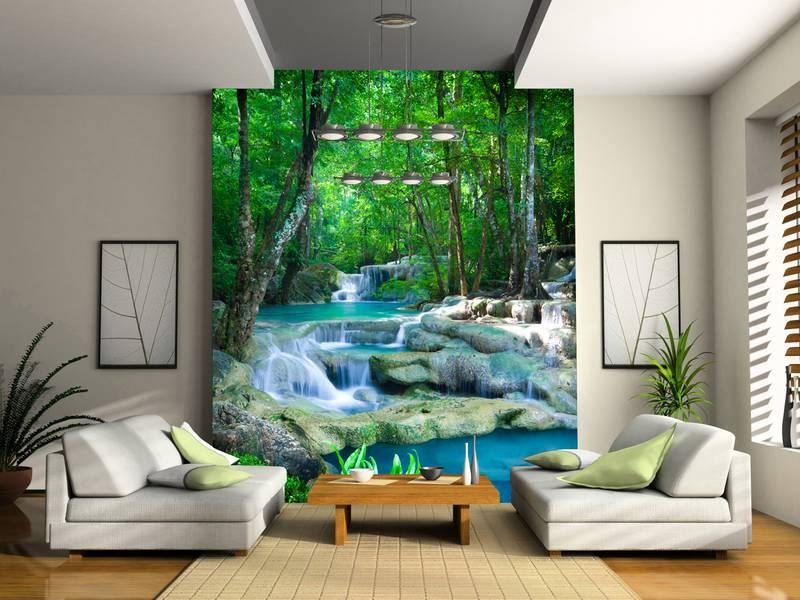 Фотообои в интерьере для спальни: фотообои водопад, тайский водопад, природа