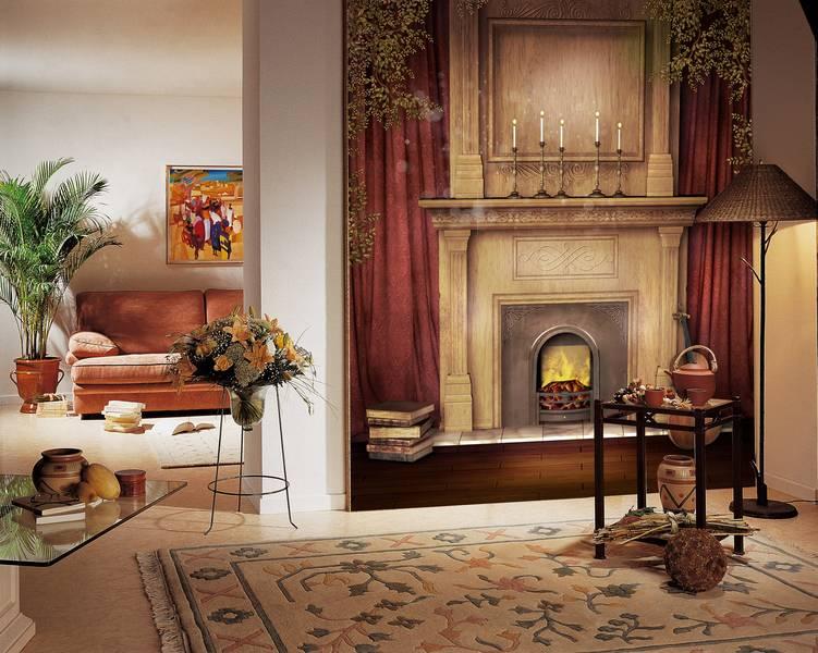 Фотообои в интерьере для спальни: фотообои камин, камин классик, классический камин, интерьер
