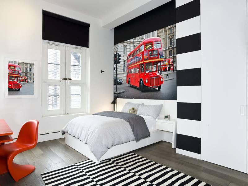 Фотообои в интерьере для спальни: фотообои Лондон, красный автобус, лондонский автобус, Биг-Бен, авто