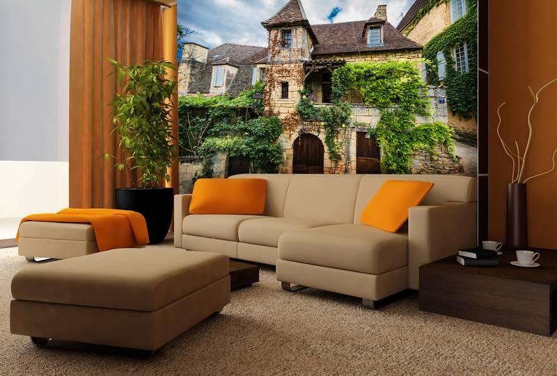 Фотообои в интерьере для спальни: фотообои древний город, в пригороде Парижа, древняя улочка