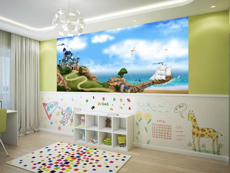 Фотообои в интерьере детской комнаты: фотообои детские, морские, на острове, причал, корабль, остров, приключения, в детскую