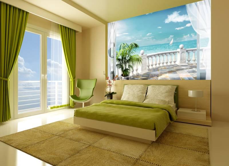 Фотообои в интерьере для спальни: фотообои море, вид на море, балкон, арки, фрески, морской пейзаж, терраса