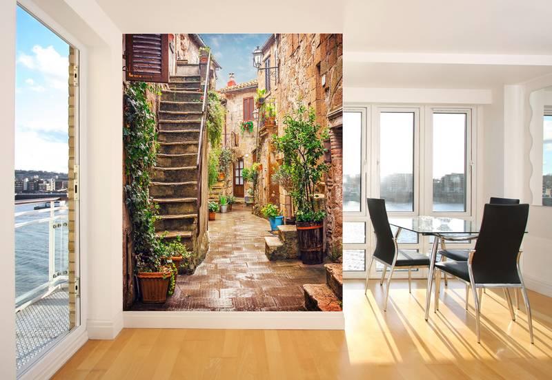 Фотообои в интерьере для кухни: фотообои улочки, дворик, старинная улочка, фреска