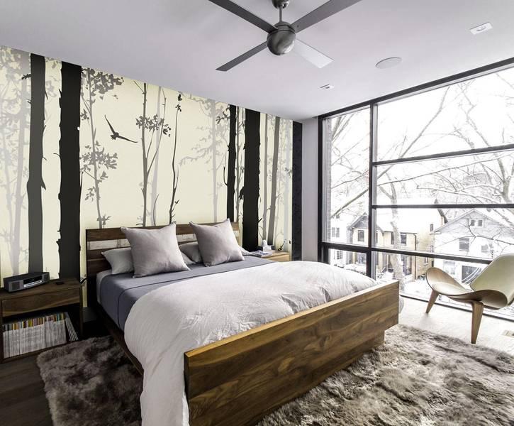 Фотообои в интерьере для спальни: фотообои, лес, деревья, монохром, абстракция, скандинавский стиль