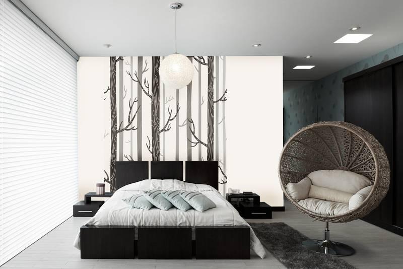 Фотообои в интерьере для спальни: фотообои лес, деревья, абстракция, минимализм, скандинавский стиль