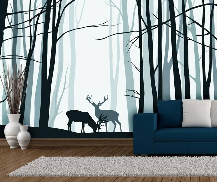 Фотообои в интерьере для спальни: фотообои лес, деревья, минимализм, монохром, олени, абстракция