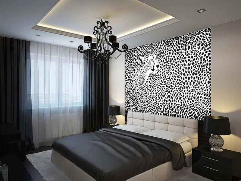 Фотообои в интерьере для спальни: фотообои гепард, 3д, абстракция, черно-белый, животные