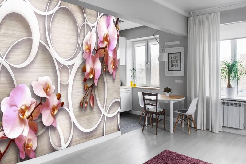 Фотообои в интерьере для кухни: фотообои 3д, 3д цветы, орхидеи, розовые орхидеи, завитки