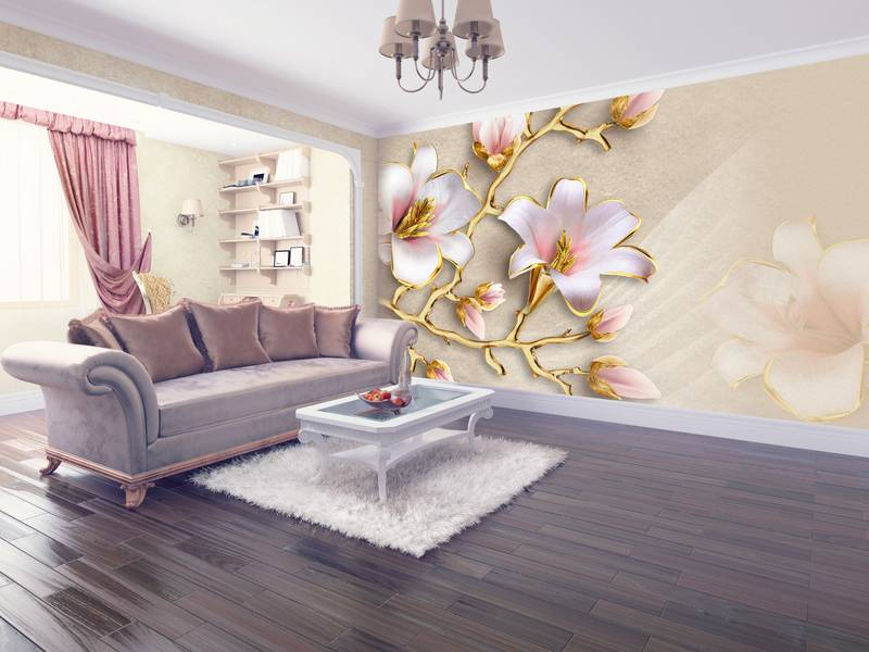Фотообои в интерьере для кухни: фотообои лилии, 3д, 3д цветы, белые лилии