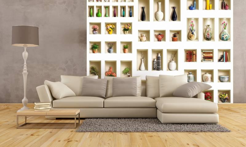 Фотообои в интерьере для кухни: 3D фотообои, вазы, полки, стена, интерьер