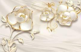 Белые пионы в золоте