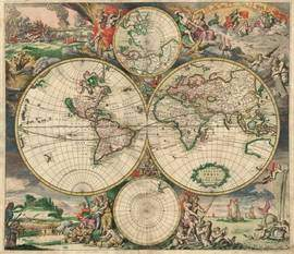 World map, 1689